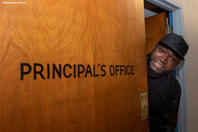 BOSTON, MA - APRIL 4: Former Boston Red Sox designated hitter David Ortiz poses for a photograph inside the Principal's Office during a hat donation event at the Hurley School on April 4, 2018 in Boston, Massachusetts. (Photo by Billie Weiss/Boston Red Sox/Getty Images) *** Local Caption *** David Ortiz