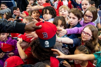BOSTON, MA - APRIL 4: Former Boston Red Sox designated hitter David Ortiz distributes hats to students hat donation event at the Hurley School on April 4, 2018 in Boston, Massachusetts. (Photo by Billie Weiss/Boston Red Sox/Getty Images) *** Local Caption *** David Ortiz