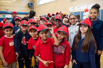 BOSTON, MA - APRIL 4: Students pose for a photograph during a Boston Red Sox hat donation event at the Hurley School on April 4, 2018 in Boston, Massachusetts. (Photo by Billie Weiss/Boston Red Sox/Getty Images) *** Local Caption ***