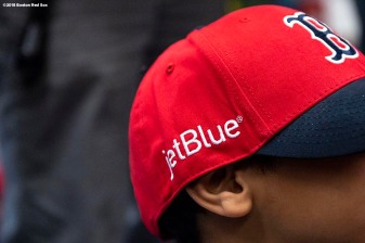 BOSTON, MA - APRIL 4: A jetBlue logo is shown on a giveaway Boston Red Sox hat during a hat donation event at the Hurley School on April 4, 2018 in Boston, Massachusetts. (Photo by Billie Weiss/Boston Red Sox/Getty Images) *** Local Caption ***