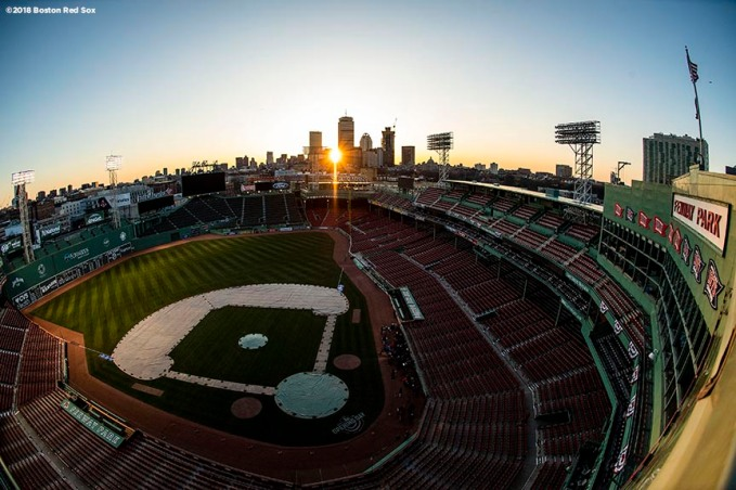 BOSTON, MA - APRIL 5: The sun rises over Fenway Park before the Opening Day game between the Boston Red Sox and the Tampa Bay Rays on April 5, 2018 at Fenway Park in Boston, Massachusetts. (Photo by Billie Weiss/Boston Red Sox/Getty Images) *** Local Caption ***
