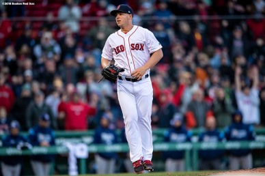BOSTON, MA - APRIL 5: Bobby Poyner #66 of the Boston Red Sox reacts during the twelfth inning of the Opening Day game against the Tampa Bay Rays on April 5, 2018 at Fenway Park in Boston, Massachusetts. (Photo by Billie Weiss/Boston Red Sox/Getty Images) *** Local Caption *** Bobby Poyner