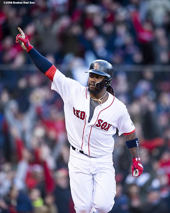 BOSTON, MA - APRIL 5: Hanley Ramirez #13 of the Boston Red Sox reacts after hitting a game winning walk-off single during the twelfth inning of the Opening Day game against the Tampa Bay Rays on April 5, 2018 at Fenway Park in Boston, Massachusetts. (Photo by Billie Weiss/Boston Red Sox/Getty Images) *** Local Caption *** Hanley Ramirez
