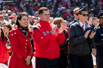 BOSTON, MA - APRIL 5: Red Sox Foundation board member Linda Pizzuti Henry, Boston Mayor Marty Walsh, and Principal Owner John Henry of the Boston Red Sox react before the Opening Day game against the Tampa Bay Rays on April 5, 2018 at Fenway Park in Boston, Massachusetts. (Photo by Billie Weiss/Boston Red Sox/Getty Images) *** Local Caption *** Linda Pizzuti Henry, Marty Walsh, John Henry