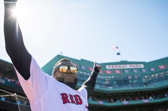 BOSTON, MA - APRIL 5: Former designated hitter David Ortiz of the Boston Red Sox is introduced before the Opening Day game against the Tampa Bay Rays on April 5, 2018 at Fenway Park in Boston, Massachusetts. (Photo by Billie Weiss/Boston Red Sox/Getty Images) *** Local Caption *** David Ortiz