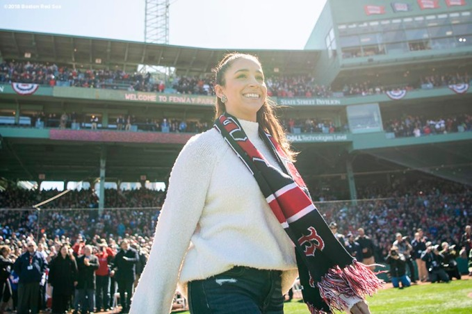 BOSTON, MA - APRIL 5: Olympic gymnast Aly Raisman is introduced before the Opening Day game between the Boston Red Sox and the Tampa Bay Rays on April 5, 2018 at Fenway Park in Boston, Massachusetts. (Photo by Billie Weiss/Boston Red Sox/Getty Images) *** Local Caption *** Aly Raisman