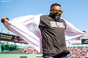 BOSTON, MA - APRIL 5: Former designated hitter David Ortiz of the Boston Red Sox reveals a shirt displaying a 'Girl Power' message before the Opening Day game against the Tampa Bay Rays on April 5, 2018 at Fenway Park in Boston, Massachusetts. (Photo by Billie Weiss/Boston Red Sox/Getty Images) *** Local Caption *** David Ortiz