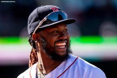 BOSTON, MA - APRIL 5: Hanley Ramirez #13 of the Boston Red Sox reacts during the fifth inning of the Opening Day game against the Tampa Bay Rays on April 5, 2018 at Fenway Park in Boston, Massachusetts. (Photo by Billie Weiss/Boston Red Sox/Getty Images) *** Local Caption *** Hanley Ramirez