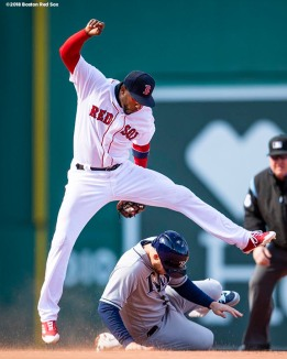 BOSTON, MA - APRIL 5: Eduardo Nunez #36 of the Boston Red Sox turns a double play over C.J. Cron #44 of the Tampa Bay Rays during the sixth inning of the Opening Day game on April 5, 2018 at Fenway Park in Boston, Massachusetts. (Photo by Billie Weiss/Boston Red Sox/Getty Images) *** Local Caption *** Eduardo Nunez; C.J. Cron