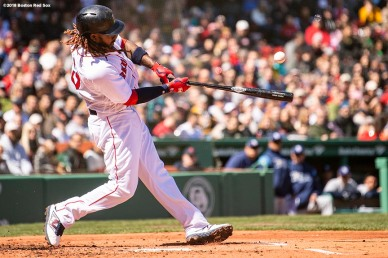 BOSTON, MA - APRIL 7: Hanley Ramirez #13 of the Boston Red Sox hits a single during the first inning of a game against the Tampa Bay Rays on April 7, 2018 at Fenway Park in Boston, Massachusetts. (Photo by Billie Weiss/Boston Red Sox/Getty Images) *** Local Caption *** Hanley Ramirez