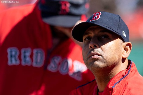 BOSTON, MA - APRIL 7: Manager Alex Cora of the Boston Red Sox looks on during the first inning of a game against the Tampa Bay Rays on April 7, 2018 at Fenway Park in Boston, Massachusetts. (Photo by Billie Weiss/Boston Red Sox/Getty Images) *** Local Caption *** Alex Cora