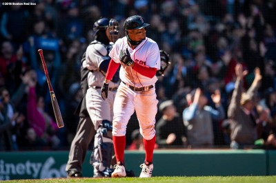 BOSTON, MA - APRIL 7: Xander Bogaerts #2 of the Boston Red Sox flips his bat after hitting a grand slam home run during the second inning of a game against the Tampa Bay Rays on April 7, 2018 at Fenway Park in Boston, Massachusetts. (Photo by Billie Weiss/Boston Red Sox/Getty Images) *** Local Caption *** Xander Bogaerts