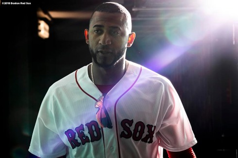 BOSTON, MA - APRIL 8: Eduardo Nunez #36 of the Boston Red Sox walks through the tunnel before a game against the Tampa Bay Rays on April 8, 2018 at Fenway Park in Boston, Massachusetts. (Photo by Billie Weiss/Boston Red Sox/Getty Images) *** Local Caption *** Eduardo Nunez