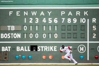 BOSTON, MA - APRIL 8: J.D. Martinez #28 of the Boston Red Sox chases after a ball he misplayed off of the Green Monster during the seventh inning of a game against the Tampa Bay Rays on April 8, 2018 at Fenway Park in Boston, Massachusetts. (Photo by Billie Weiss/Boston Red Sox/Getty Images) *** Local Caption *** J.D. Martinez