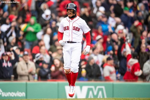 BOSTON, MA - APRIL 8: Mookie Betts #50 of the Boston Red Sox reacts after scoring the go ahead run during the eighth inning of a game against the Tampa Bay Rays on April 8, 2018 at Fenway Park in Boston, Massachusetts. (Photo by Billie Weiss/Boston Red Sox/Getty Images) *** Local Caption *** Mookie Betts