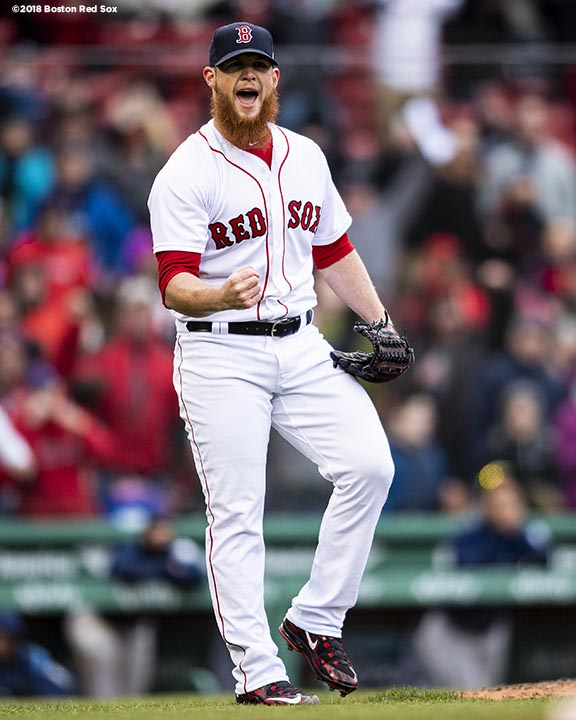 BOSTON, MA - APRIL 8: Craig Kimbrel #46 of the Boston Red Sox reacts after recording the final out of the game during the inning of a game against the Tampa Bay Rays on April 8, 2018 at Fenway Park in Boston, Massachusetts. (Photo by Billie Weiss/Boston Red Sox/Getty Images) *** Local Caption *** Craig Kimbrel