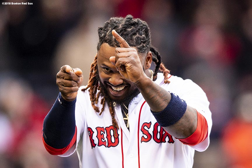 BOSTON, MA - APRIL 8: Hanley Ramirez #13 of the Boston Red Sox celebrates a victory against the Tampa Bay Rays on April 8, 2018 at Fenway Park in Boston, Massachusetts. (Photo by Billie Weiss/Boston Red Sox/Getty Images) *** Local Caption *** Hanley Ramirez