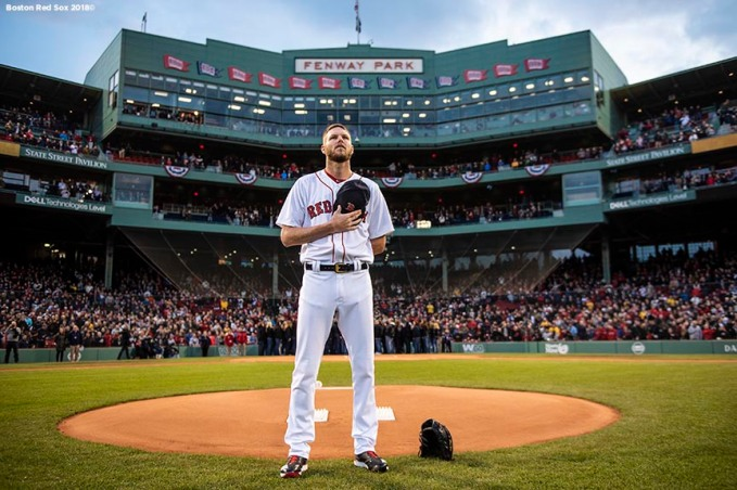 BOSTON, MA - APRIL 10: Chris Sale #41 of the Boston Red Sox stands on the pitcher's mound as the National Anthem is played before a game against the New York Yankees on April 10, 2018 at Fenway Park in Boston, Massachusetts. (Photo by Billie Weiss/Boston Red Sox/Getty Images) *** Local Caption *** Chris Sale