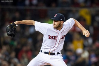 BOSTON, MA - APRIL 10: Chris Sale #41 of the Boston Red Sox delivers during the third inning of a game against the New York Yankees on April 10, 2018 at Fenway Park in Boston, Massachusetts. (Photo by Billie Weiss/Boston Red Sox/Getty Images) *** Local Caption *** Chris Sale