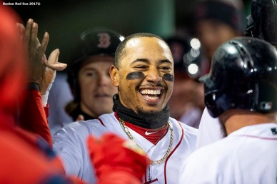 BOSTON, MA - APRIL 10: Mookie Betts #50 of the Boston Red Sox reacts after hitting a grand slam home run during the sixth inning of a game against the New York Yankees on April 10, 2018 at Fenway Park in Boston, Massachusetts. (Photo by Billie Weiss/Boston Red Sox/Getty Images) *** Local Caption *** Mookie Betts