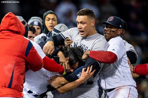 BOSTON, MA - APRIL 11: Aaron Judge #99 of the New York Yankees fights with Joe Kelly #46 of the Boston Red Sox after Tyler Austin #26 was hit by a pitch during the seventh inning of a game on April 11, 2018 at Fenway Park in Boston, Massachusetts. The play led to a benches clearing argument. (Photo by Billie Weiss/Boston Red Sox/Getty Images) *** Local Caption *** Tyler Austin; Joe Kelly; Aaron Judge