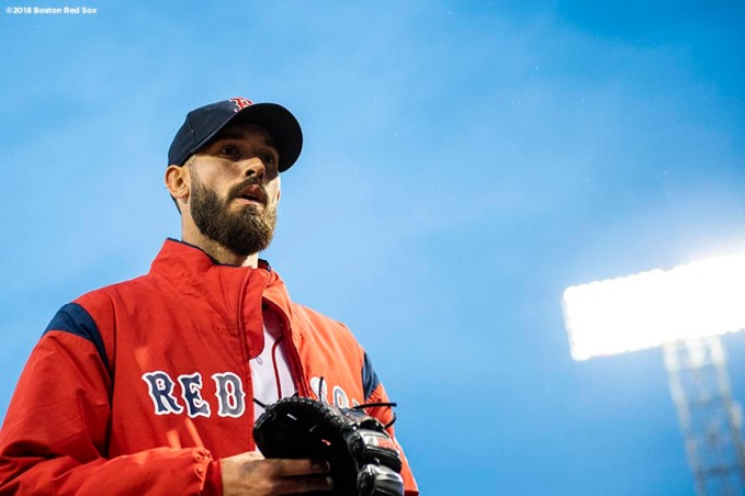 BOSTON, MA - APRIL 12: Rick Porcello #22 of the Boston Red Sox looks on before a game against the New York Yankees on April 12, 2018 at Fenway Park in Boston, Massachusetts. (Photo by Billie Weiss/Boston Red Sox/Getty Images) *** Local Caption *** Rick Porcello