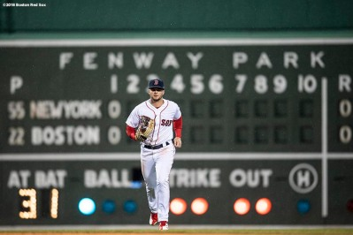 BOSTON, MA - APRIL 12: Andrew Benintendi #16 of the Boston Red Sox runs off the field during the second inning of a game against the New York Yankees on April 12, 2018 at Fenway Park in Boston, Massachusetts. (Photo by Billie Weiss/Boston Red Sox/Getty Images) *** Local Caption *** Andrew Benintendi