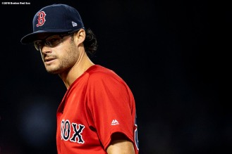 BOSTON, MA - APRIL 13: Joe Kelly #56 of the Boston Red Sox reacts during the eighth inning of a game against the Baltimore Orioles on April 13, 2018 at Fenway Park in Boston, Massachusetts. (Photo by Billie Weiss/Boston Red Sox/Getty Images) *** Local Caption *** Joe Kelly
