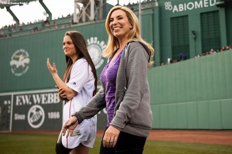 BOSTON, MA - APRIL 13: Boston Marathon bombing survivors Heather Abbott and Noelle Lambert are introduced during a ceremony before a game between the Boston Red Sox and the Baltimore Orioles on April 13, 2018 at Fenway Park in Boston, Massachusetts. (Photo by Billie Weiss/Boston Red Sox/Getty Images) *** Local Caption *** Heather Abbott; Noelle Lambert