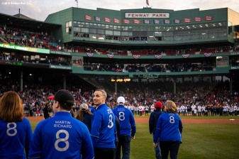 BOSTON, MA - APRIL 13: Family of Boston Marathon bombing victim Martin Richard are introduced during a ceremony before a game between the Boston Red Sox and the Baltimore Orioles on April 13, 2018 at Fenway Park in Boston, Massachusetts. (Photo by Billie Weiss/Boston Red Sox/Getty Images) *** Local Caption *** Martin Richard