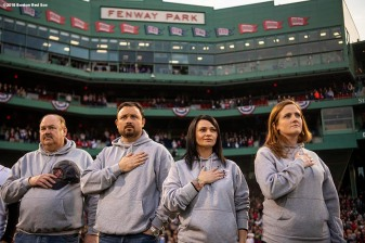 BOSTON, MA - APRIL 13: Family of Boston Marathon bombing victim Sean Collier are introduced during a ceremony before a game between the Boston Red Sox and the Baltimore Orioles on April 13, 2018 at Fenway Park in Boston, Massachusetts. (Photo by Billie Weiss/Boston Red Sox/Getty Images) *** Local Caption *** Sean Collier