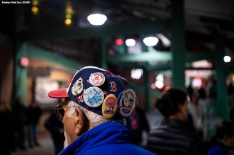 BOSTON, MA - APRIL 14: A fan displays his hat before a game between the Boston Red Sox and the Baltimore Orioles on April 14, 2018 at Fenway Park in Boston, Massachusetts. (Photo by Billie Weiss/Boston Red Sox/Getty Images) *** Local Caption ***