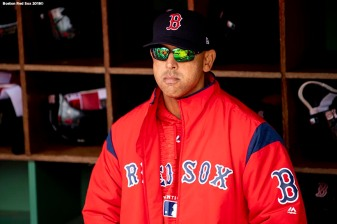 BOSTON, MA - APRIL 14: Manager Alex Cora of the Boston Red Sox looks on before a game against the Baltimore Orioles on April 14, 2018 at Fenway Park in Boston, Massachusetts. (Photo by Billie Weiss/Boston Red Sox/Getty Images) *** Local Caption *** Alex Cora