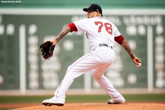 BOSTON, MA - APRIL 14: Hector Velazquez #76 of the Boston Red Sox delivers during the first inning of a game against the Baltimore Orioles on April 14, 2018 at Fenway Park in Boston, Massachusetts. (Photo by Billie Weiss/Boston Red Sox/Getty Images) *** Local Caption *** Hector Velazquez