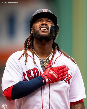 BOSTON, MA - APRIL 14: Hanley Ramirez #13 of the Boston Red Sox reacts after hitting a two run home run during the first inning of a game against the Baltimore Orioles on April 14, 2018 at Fenway Park in Boston, Massachusetts. (Photo by Billie Weiss/Boston Red Sox/Getty Images) *** Local Caption *** Hanley Ramirez