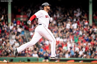 BOSTON, MA - APRIL 14: J.D. Martinez #28 of the Boston Red Sox rounds the bases after hitting a solo home run during the fourth inning of a game against the Baltimore Orioles on April 14, 2018 at Fenway Park in Boston, Massachusetts. (Photo by Billie Weiss/Boston Red Sox/Getty Images) *** Local Caption *** J.D. Martinez
