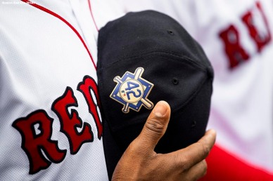 BOSTON, MA - APRIL 15: The number 42 patch is shown in recognition of Jackie Robinson Day before a game between the Boston Red Sox and the Baltimore Orioles on April 15, 2018 at Fenway Park in Boston, Massachusetts. (Photo by Billie Weiss/Boston Red Sox/Getty Images) *** Local Caption ***