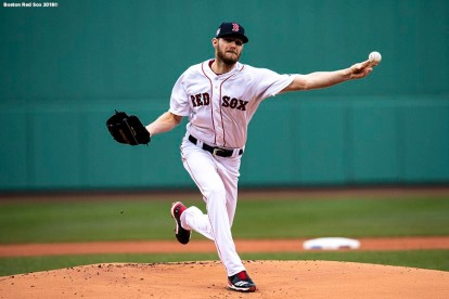 BOSTON, MA - APRIL 15: Chris Sale #42 of the Boston Red Sox delivers during the first inning of a game against the Baltimore Orioles on April 15, 2018 at Fenway Park in Boston, Massachusetts. (Photo by Billie Weiss/Boston Red Sox/Getty Images) *** Local Caption *** Chris Sale