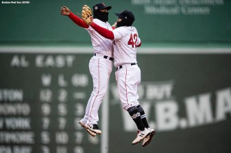 BOSTON, MA - APRIL 15: Tzu-Wei Lin #5 and Brock Holt #12 of the Boston Red Sox celebrate a victory against the Baltimore Orioles on April 15, 2018 at Fenway Park in Boston, Massachusetts. (Photo by Billie Weiss/Boston Red Sox/Getty Images) *** Local Caption *** Tzu-Wei Lin