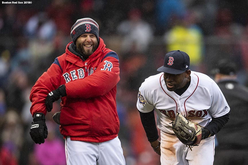 BOSTON, MA - APRIL 15: Dustin Pedroia #15 and Jackie Bradley Jr. #18 of the Boston Red Sox celebrate a victory against the Baltimore Orioles on April 15, 2018 at Fenway Park in Boston, Massachusetts. (Photo by Billie Weiss/Boston Red Sox/Getty Images) *** Local Caption *** Jackie Bradley Jr.; Dustin Pedroia