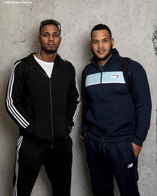 BOSTON, MA - APRIL 16: Xander Bogaerts #2 and Eduardo Rodriguez #57 of the Boston Red Sox pose for a portrait before a road trip on April 16, 2018 at Fenway Park in Boston, Massachusetts. (Photo by Billie Weiss/Boston Red Sox/Getty Images) *** Local Caption *** Xander Bogaerts; Eduardo Rodriguez