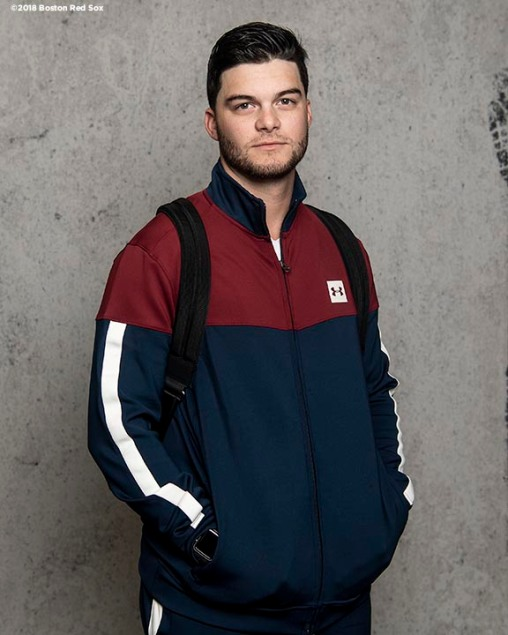 BOSTON, MA - APRIL 16: Andrew Benintendi #16 of the Boston Red Sox poses for a portrait before a road trip on April 16, 2018 at Fenway Park in Boston, Massachusetts. (Photo by Billie Weiss/Boston Red Sox/Getty Images) *** Local Caption *** Andrew Benintendi