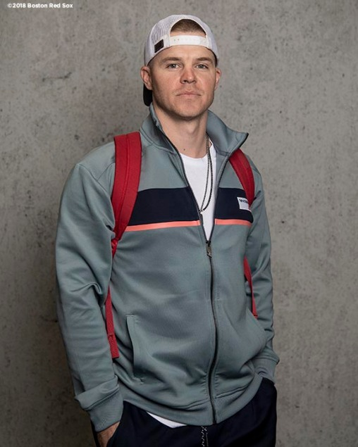 BOSTON, MA - APRIL 16: Brock Holt #12 of the Boston Red Sox poses for a portrait before a road trip on April 16, 2018 at Fenway Park in Boston, Massachusetts. (Photo by Billie Weiss/Boston Red Sox/Getty Images) *** Local Caption *** Brock Holt