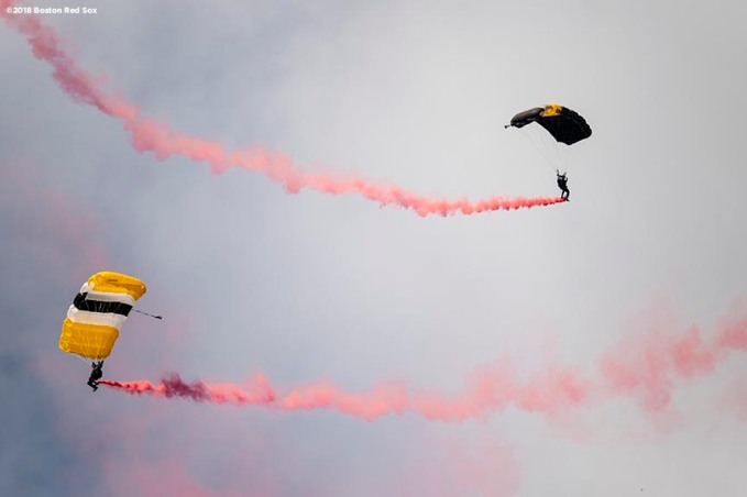 BOSTON, MA - APRIL 20: Members of the West Point Parachute Team perform a practice jump onto the field before a game between Army West Point and the Naval Academy on April 20, 2018 at Fenway Park in Boston, Massachusetts. (Photo by Billie Weiss/Boston Red Sox/Getty Images) *** Local Caption ***