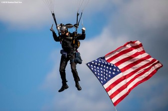BOSTON, MA - APRIL 20: A member of the West Point Parachute Team performs a practice jump onto the field before a game between Army West Point and the Naval Academy on April 20, 2018 at Fenway Park in Boston, Massachusetts. (Photo by Billie Weiss/Boston Red Sox/Getty Images) *** Local Caption ***
