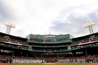 BOSTON, MA - APRIL 20: Starting lineups are introduced before a game between Army West Point and the Naval Academy on April 20, 2018 at Fenway Park in Boston, Massachusetts. (Photo by Billie Weiss/Boston Red Sox/Getty Images) *** Local Caption ***