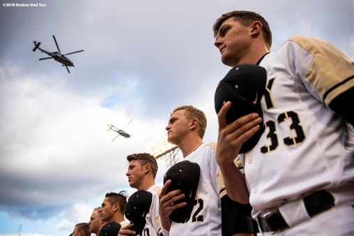 BOSTON, MA - APRIL 20: Starting lineups are introduced as a flyover is held before a game between Army West Point and the Naval Academy on April 20, 2018 at Fenway Park in Boston, Massachusetts. (Photo by Billie Weiss/Boston Red Sox/Getty Images) *** Local Caption ***