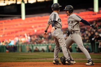 BOSTON, MA - APRIL 20: Game action during a game between Army West Point and the Naval Academy on April 20, 2018 at Fenway Park in Boston, Massachusetts. (Photo by Billie Weiss/Boston Red Sox/Getty Images) *** Local Caption ***