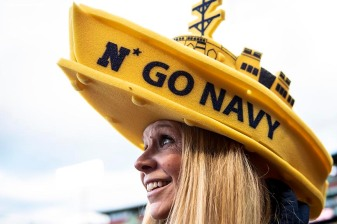 BOSTON, MA - APRIL 20: A fan displays her hat during a game between Army West Point and the Naval Academy on April 20, 2018 at Fenway Park in Boston, Massachusetts. (Photo by Billie Weiss/Boston Red Sox/Getty Images) *** Local Caption ***