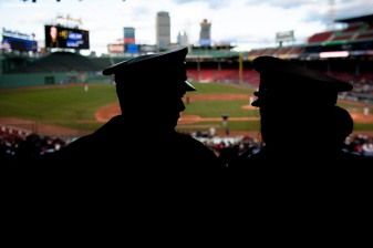 BOSTON, MA - APRIL 20: Navy Cadets look on during a game between Army West Point and the Naval Academy on April 20, 2018 at Fenway Park in Boston, Massachusetts. (Photo by Billie Weiss/Boston Red Sox/Getty Images) *** Local Caption ***